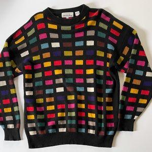 Vintage 100% Cashmere Colorful Windowpane Sweater